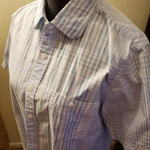 Club room blue checked short sleeve size L slimfit
